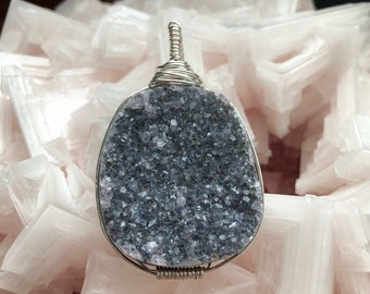 Druzy quartz silver wrapped pendant