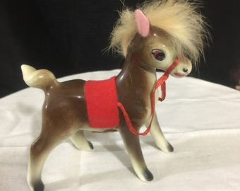 Porcelain and fur donkey figurine, 1950's, real fur. Creations by Bradley.