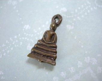 "Tiny Brass Buddha on Stupa pendant charm Thailand lot of 1 petite cast 20mm 7/8"""