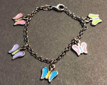 "5.5"", vintage Sterling silver handmade bracelet, solid 925 silver enamel butterfly charm bracelet"
