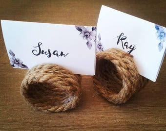 Set of 6 Rustic place card holders, Hemp Rope Place Card Holders for rustic or beach wedding, table number holders   - Table decoration