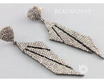 Pave Diamond Earrings, Pave Diamond Art Deco Earrings, Diamond Earrings, Art Deco Earrings, Diamond Fancy Earrings, (DER-141)