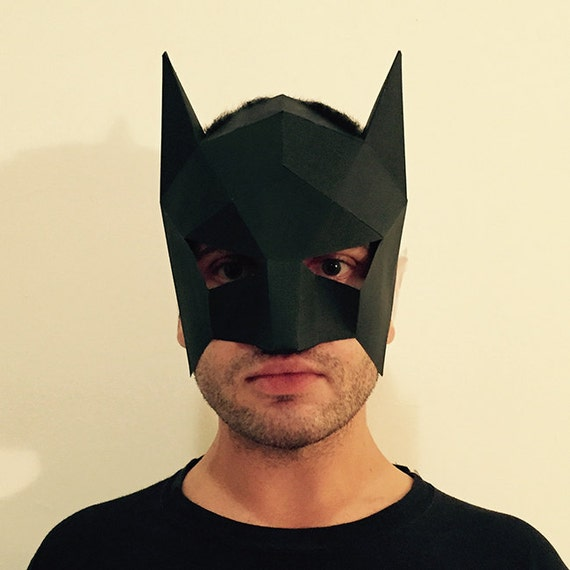 Items similar to Make Your Own Batman Mask from paper PDF pattern mask Polygon Face DIY Halloween Paper Mask Papercraft party eco friendly on Etsy & Items similar to Make Your Own Batman Mask from paper PDF pattern ...