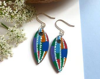Hand Painted Earrings, Petal Earrings, Dangle Earrings, Original Art, Art Earrings, Abstract Art, Wearable Picture Art, Wooden Earrings