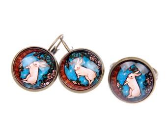 Rabbit earrings, Rabbit ring Rabbit  jewelry SET, alice in wonderland earrings, alice in wonderland ring, alice in wonderland jewelry set
