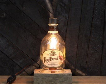 Handmade Wild Turkey Rare Breed Bourbon Bottle Lamp, Features Reclaimed Wood Base, Edison Bulb, Twisted Cloth Wire, In line Switch, And Plug