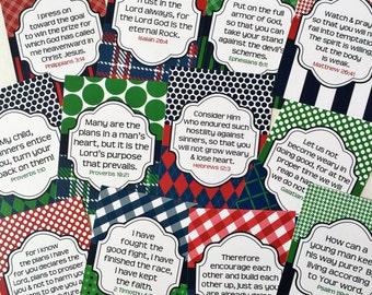 Pack C Boy Scripture Cards, Bible Journaling Cards, Planner Cards, Scripture Memory Cards, Bible Verse Cards, Navy, Red & Green Scripture Pr