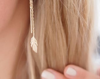 Long, dangling earrings leaves - plated 750/000 - gold plated earrings 18 k gold