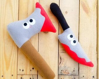 Knife and Axe set - plush knife - plush axe - my favorite murder - ssdgm - geek gift - plush weapon - anthropomorphic - stuffed toy