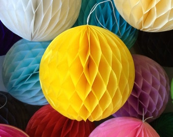 Yellow 2 Inch Honeycomb Tissue Paper Balls - Paper Party Decor Decoration Supplies
