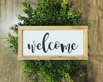 Welcome Sign, Farmhouse Decor, Handmade, Sign, Entryway