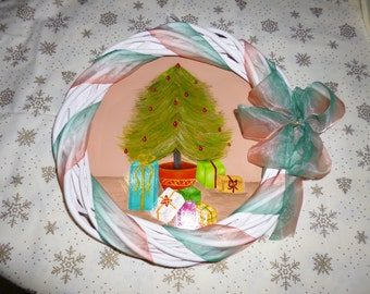 Handpainted Christmas Wreath with organza ribbon and Christmas tree scene background.  Great Christmas gift.