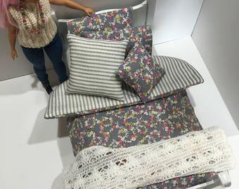 11.5 Inch Fashion Doll 6 Piece Bedding Set B handmade reversible comforter (vertical stripes)