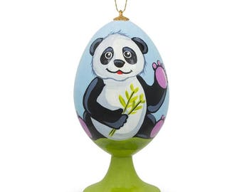 """3.5"""" Smiling Panda with Bamboo Wooden Easter Egg Christmas Ornament"""