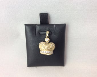 10k Solid Yellow Real Gold 3-D Crown Pendant Beautiful Sparkling CZ Royalty 2.6grams
