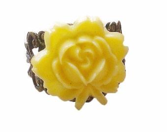 Yellow flower cabochon ring adjustable filigree ring