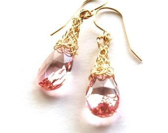 Pink Earrings - Wire crochet gold earrings  - Pink Gold Dangle Earrings , Cherry Earrings , Wire Wrapped Pink Earrings