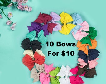 Set of 10 Hair bows, Girl Hair Bows, Toddler Bows, Little Girl Bows, Hair Bow Clips, Bows For Girls, Cheap Bows, Wholesale Hair Bows, Bows