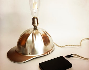 Vintage Antique 1950s Hard Hat Thinking Cap 2.0, Light Bulb Hat Wired to a Hand-Held Battery Pack