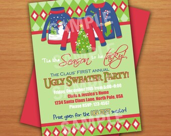 Digital Ugly Sweater Christmas Party Invitation with Voting Slips DIY