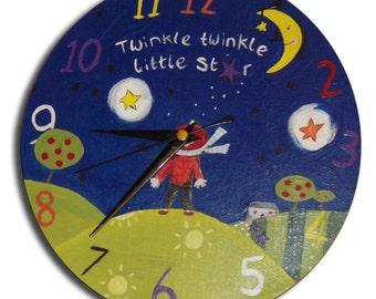 Twinkle Twinkle Little Star Clock / Children's Nursery Rhyme Wall Clock / Baby Nursery Decor