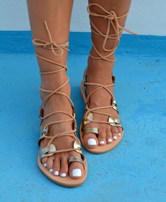 Up Greek Gold Sandals Sandals Lace Gold ''Helena'' Gladiator Up Leather Gladiator Sandals Tie q58wCB5