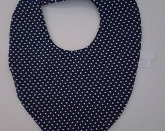 """Confetti"" blue 0-6 months baby bandana bib"