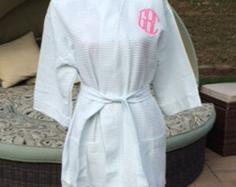 Monogrammed Waffle Kimono Short Robe Square Pattern - Personalized - SPA BLUE - Wedding Bride Pool Spa Robe