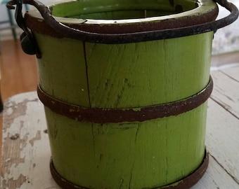 Vintage Chippy Little Green Bucket