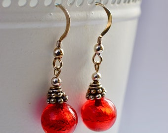 Red Venetian Glass and Sterling Silver Drop Earrings