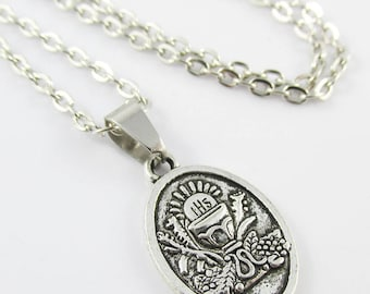 First Holy Communion Medal Charm Necklace 45cm