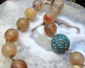 50% Mega Sale Matte Carnelian Nepalese Linked Necklace