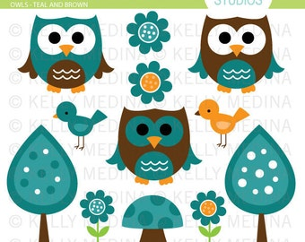 Owls - Teal and Brown - Clip Art Set - Digital Elements Commercial use for Cards, Stationery and Paper Crafts and Products
