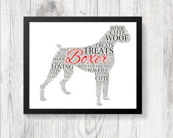 Personalised Pedigree BOXER Dog Word Art Print Gift Keepsake Birthday Christmas Present Crufts