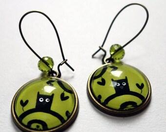 Earrings, OWL green BO100B