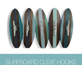 Set of 5 Surfboard Wall Hooks with Boat Cleats