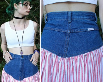80s Vintage Tea Length Skirt DENIM JEAN High Waist Cotton Red & White STRIPED Woman's Spring Summer Festival Full Pleated Skirt Small Size 9