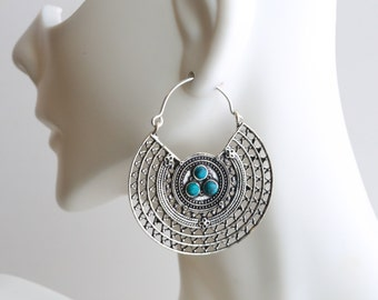 Silver Brass Tribal earrings with turquoise stone, Brass hoops, Tribal Hoops, Ethnic earrings, Tribal Earrings, filigree earrings