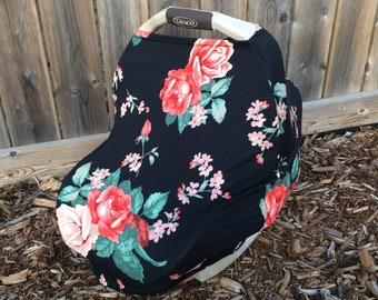 4 in 1 Car seat Cover | Nursing Cover | Infinity Scarf | Grocery Cart Seat Cover | Black with White Flowers | Stretchy Car