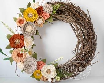 Light Fall Spring Felt Flower Wreath || Grapevine Wreath || Front Door Wreath || Mantel Wreath ||  Nursery Decor || Colorful Floral Decor