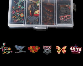 Wood Sewing Buttons Scrapbooking Animal Multicolor Two Holes Mixed - 1 Box