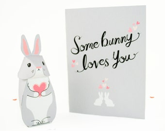 Diy printable easter bunny gift boxes easter party favor printable some bunny loves you card and gift box pdf kit includes diy printable card negle Images