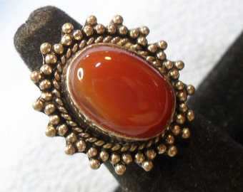 SALE!!  Silver Western Style Ring with Large Burnt Sienna Red Stone Size 5 (was 12.00)