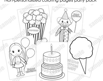 INSTANT DOWNLOAD Circus Party Pack Non-Personalized coloring pages birthday party favor activities for kids