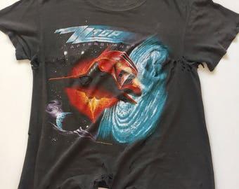 80's ZZ Top t-shirt Vintage black band tshirt paper thin thrashed size Small