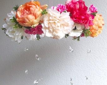Flower Mobile, Baby Mobile, Floral Mobile, Flower Chandelier, Nursery Chandelier, Crystal Mobile, Crib Mobile, Wedding Chandelier, Boho Baby