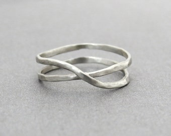Gold Ring, Unique Gold Ring, 14k Gold Infinity Ring, Hammered Ring, White Gold Ring, Infinity Gold Ring, Unique Ring, 14k Gold Ring, Gift