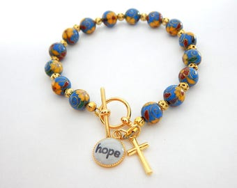 Hope Charm Bracelet - Christian Bracelet - Vintage Cloisonne beads - Catholic jewelry -  Religious gift - Cross Charm - Christian Jewelry