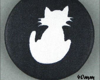 Fabric covered button - cat - Silhouette of cat - 40 mm (40-45)