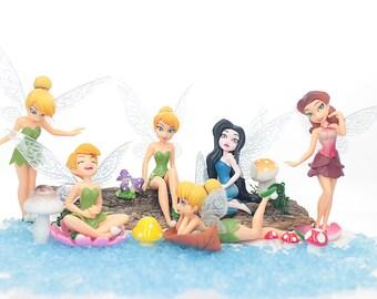 6 Fairies Figurine DollHouse Accessory, Fairy Miniature Figure, Fairy Door, Doll House Toy Birthday Gift for Little Girls